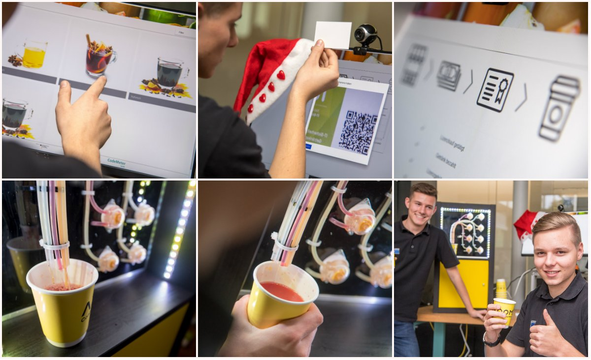 Orange, cinnamon or apple - #TRUMPF serves Christmas punch from the cloud on St. Nicholas' Day. The beverage mixer can be controlled via app, pulls the alcohol-free recipes from the Internet and is paid by Bitcoin. @iunoprojekt  @AxoomCom  @BMBF_Bund  #I40 #IoT