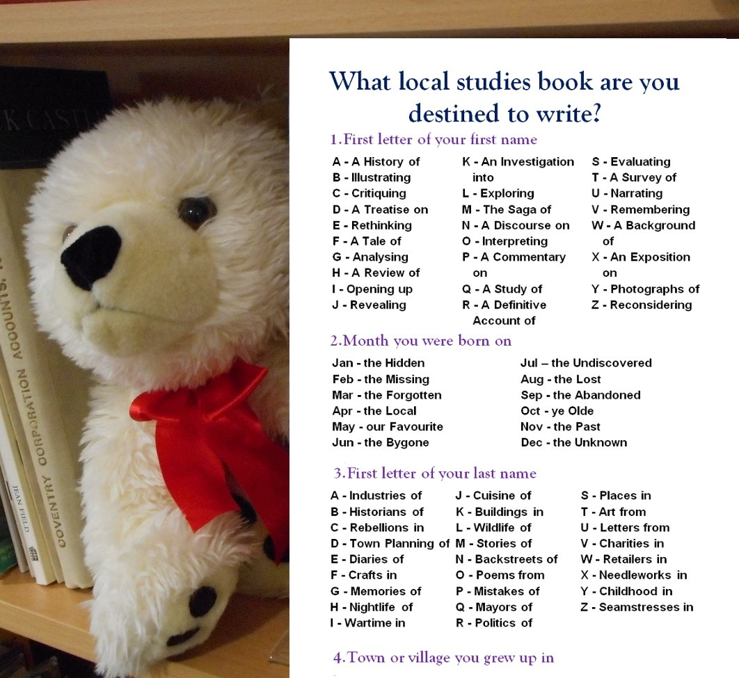 Chambearlin The Bear Asking What Local Studies Book Are You Destined To Write