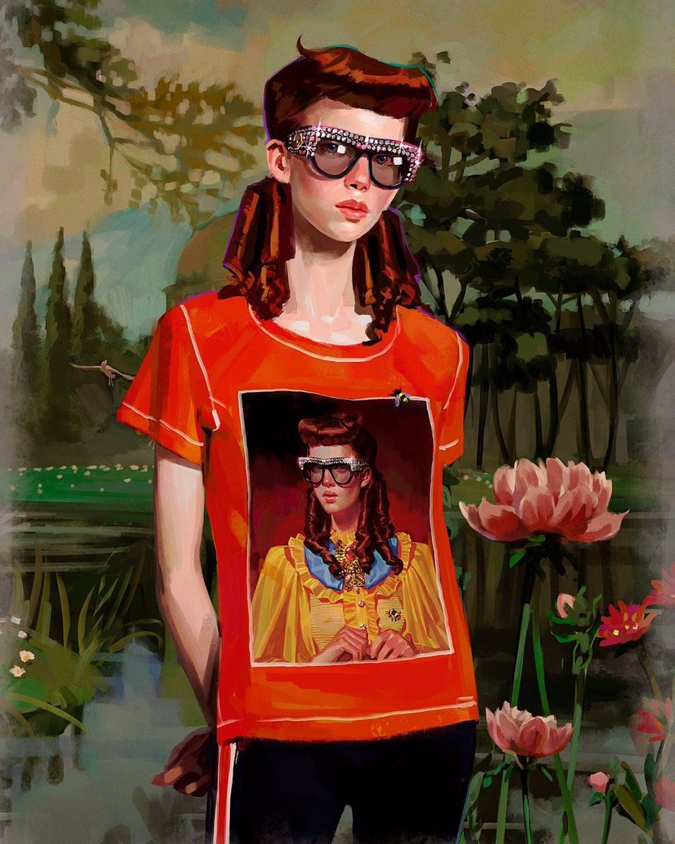 e9ea95382af4 The young artist's prints, including a redheaded character resembling Eve,  appear on T-shirts from #GucciCruise18 and on the #GucciArtWall in Soho NYC  and ...
