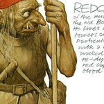 Redcap butchers travellers, and dyes his cap in their blood. He is a goblin of the Borders, with long teeth, skinny fingers armed with eagle talons, large eyes of fiery red, grisly hair, iron boots, a pikestaff in his left hand, and a red cap on his head. Image @AlanLee11225760