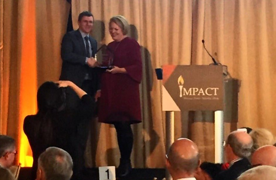 Wife of Supreme Court Justice Clarence Thomas, @GinniThomas, presenting an award to @JamesOKeefeIII today for 'defending liberty.'