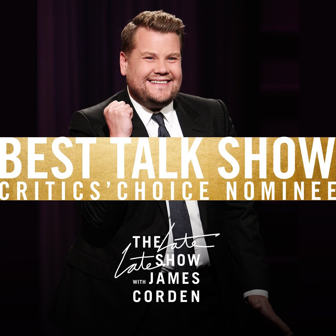 Congratulations to the #LateLateShow with @JKCorden on the #CriticsChoice nomination for Best Talk Show! 👏👏🙌🙌