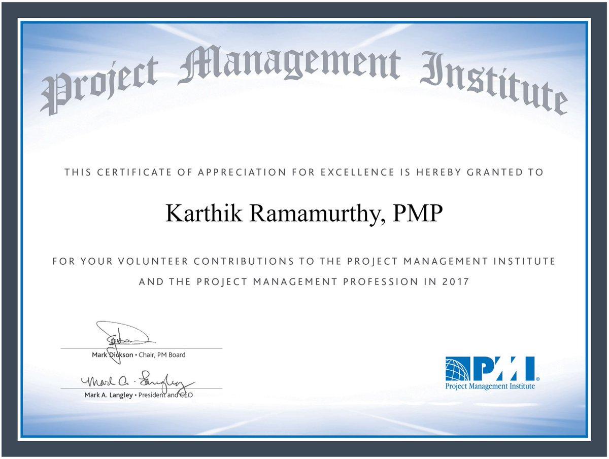 Karthik Ramamurthy On Twitter Thanks A Million Pmi Pminstitute