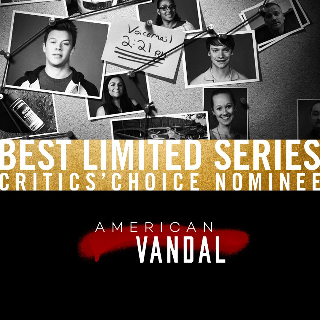 Congratulations #AmericanVandal on the #CriticsChoice nomination for Best Limited Series!