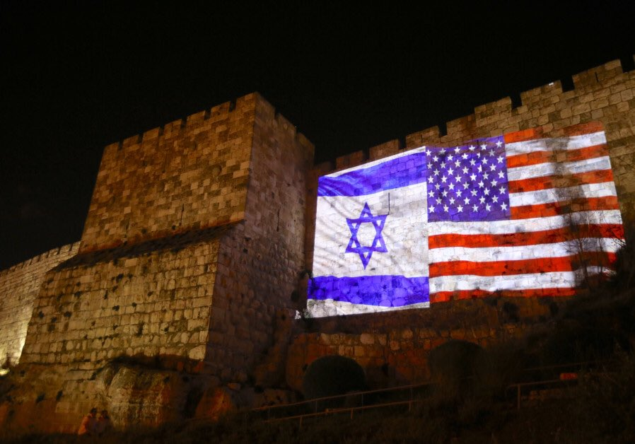 The walls of the Old City of #Jerusalem illuminated with US and Israeli flags ahead of President Trump's expected announcement that the US will recognize Jerusalem as #Israel's capital.(@Jerusalem_Post)