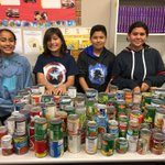 Madison PAL students counting food supplies to give to The Salvation Army.  The Mustang students have collected over 390 cans to help families for the holidays! #mustangpride