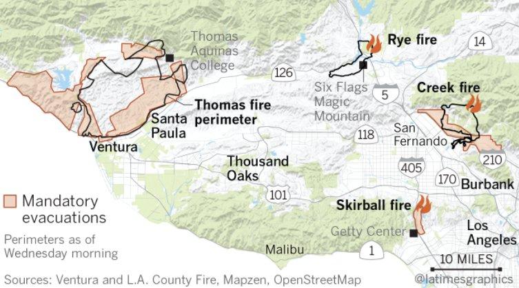 Getty Fire Map