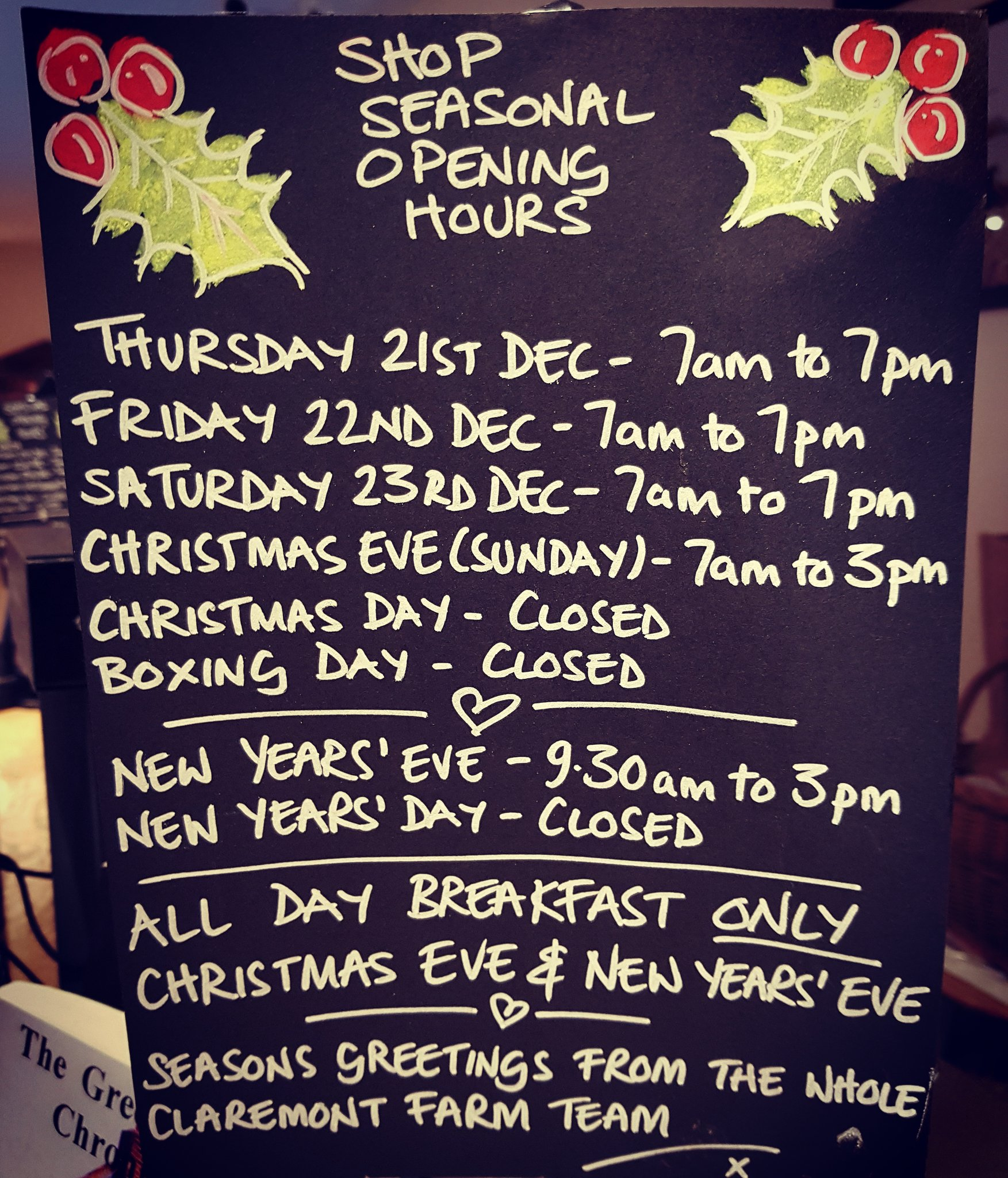 Claremont Farm On Twitter Our Seasonal Shop Opening Hours