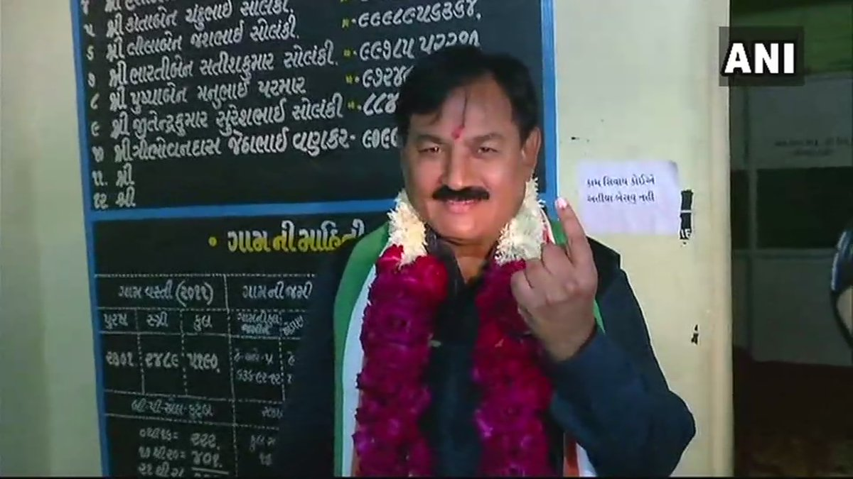 #ElectionsWithNews18 -- Congress state chief Bharatsinh Solanki casts his vote in polling booth no.201 in Anand #BattleForGujarat  Image: ANI  LIVE UPDATES: https://t.co/q4NMKIxkDy