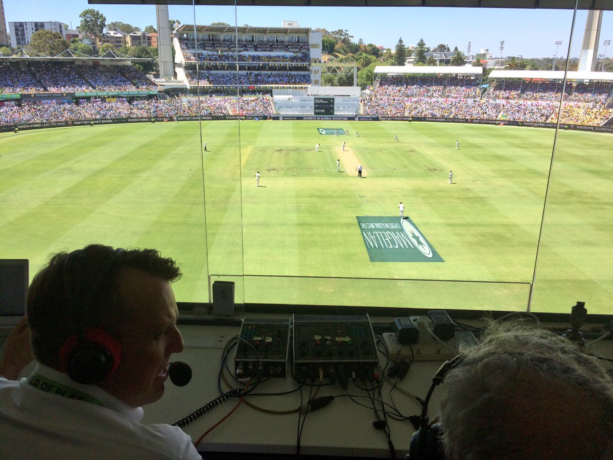 Good morning from the @bbctms box at the WACA.   Here's our view of the action with @Swannyg66 &  on @jimmaxcricketair.   👉     https://t.co/7LhAebjePu#ashes#bbccricket