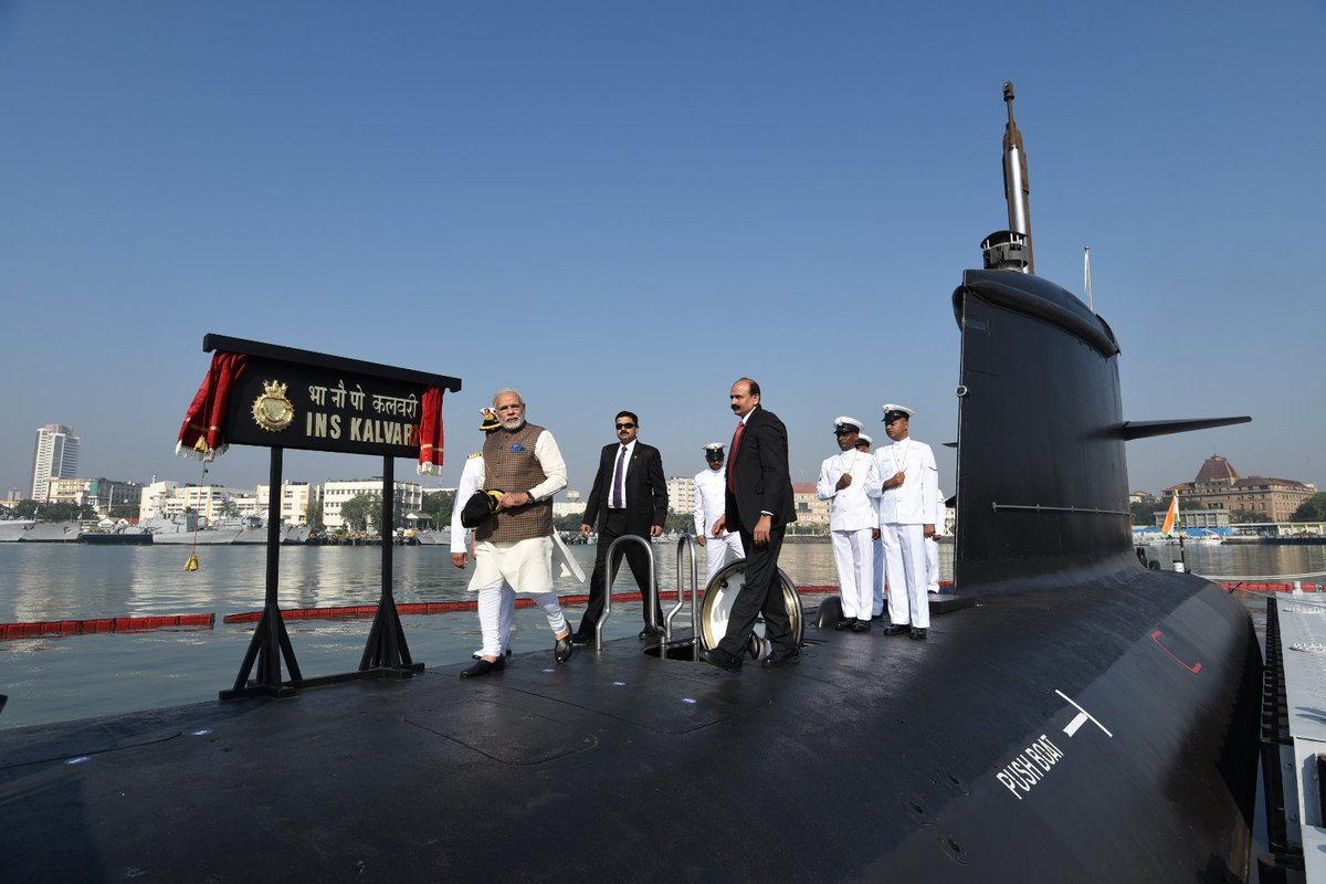 Commissioning of INS Kalvari is an occasion of great pride. It illustrates the success of @makeinindia and adds strength to our defence capabilities.
