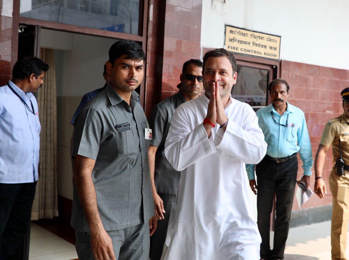 Congress President-Elect Rahul Gandhi arrives at Trivandrum Airport. #RahulWithFishermen