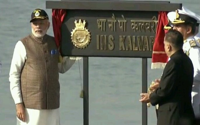 Huge boost to India's defence prowess: Commissioning of the first indigenous scorpene-class naval submarine, INS Kalvari, dedicated to the nation by PM @narendramodi; represents a success of @makeinindia initiative.