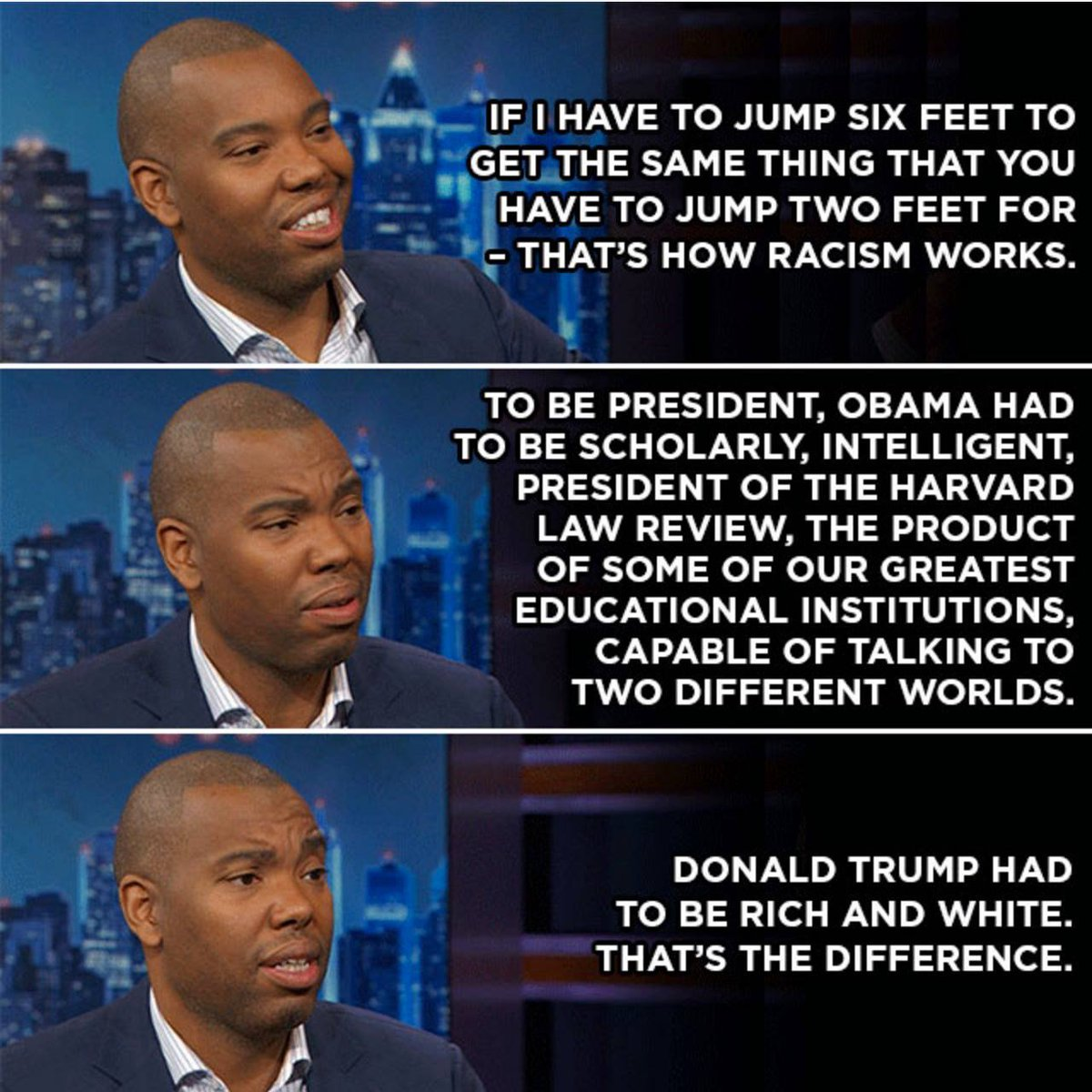 Donald Trump's white privilege.  — @tanehisicoates