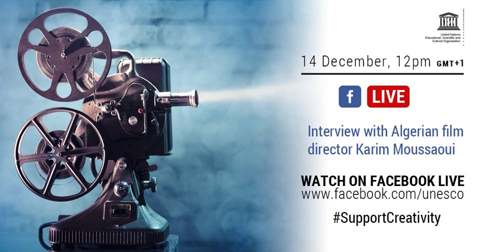 Join our #FacebookLive with Algerian film director Karim Moussaoui today at 12pm: a conversation about creativity, culture and filmmaking.  Tune in here https://t.co/hKy0n62A0p #SupportCreativity