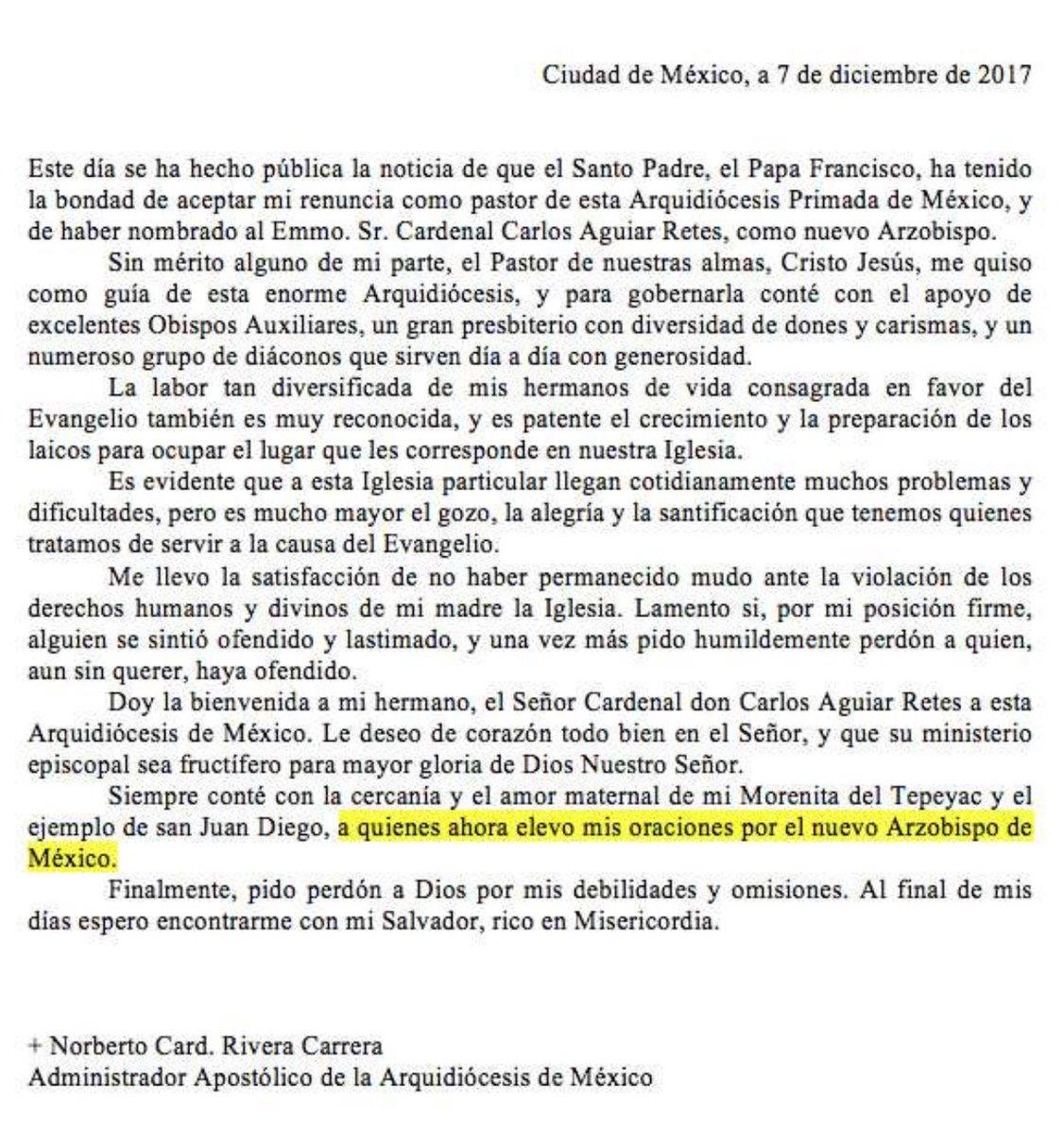 Aceptan renuncia de Norberto Rivera; Aguilar Retes nuevo arzobispo