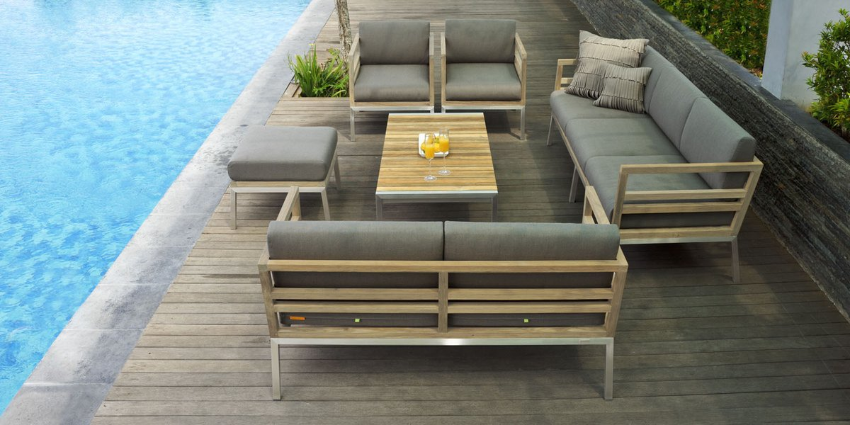 This attractive Vancouver Sofa have teak wood and stainless steel frame that wraps around outdoor fabric cushions.  Email: sales@teakvogue.com   https://www. teakvogue.com /               #teakfurniture #furniture #WorldWideHansomeDay #PAU2017 #mamaredcarpet  #electric_kiss #Malaysiapic.twitter.com/UsNp6mUDs1