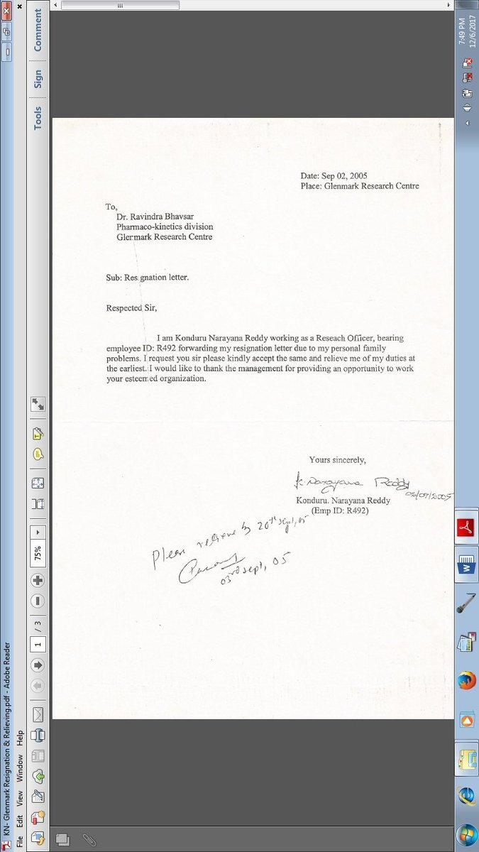 Resignation Letter Family Problem