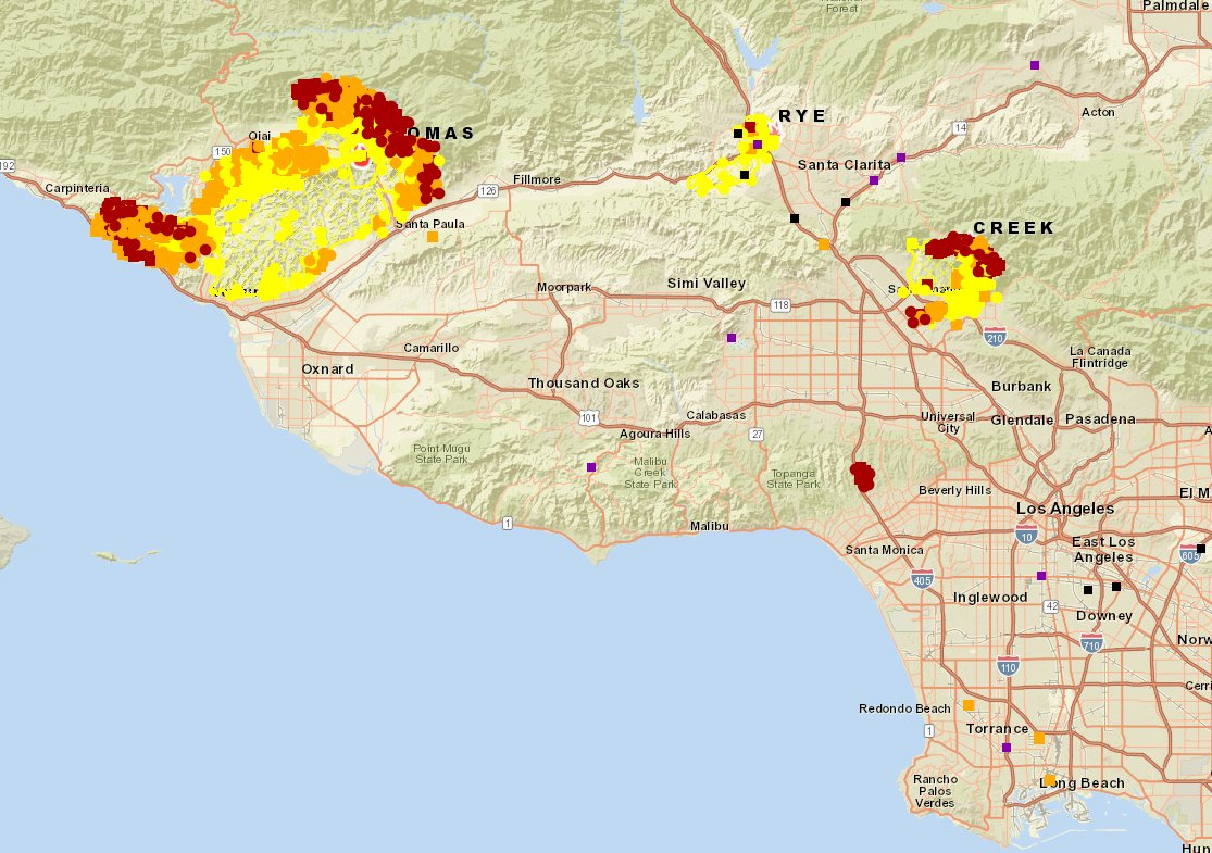 Unofficial map of latest areas burned by #Thomasfire #Ryefire #Creekfire and #Skirballfire (off I-405). Darker colors indicate more recent or more active burning. #laweather #cawx