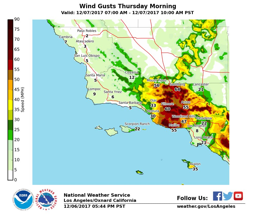 #SantaAnaWinds to intensify and become damaging overnight into Thu. Here are the projected wind gusts for Thu morning. Be prepared for downed trees/powerlines , blowing dust/debris, power outages, and very rapid fire spread. #LAWind #LAWeather #cawx