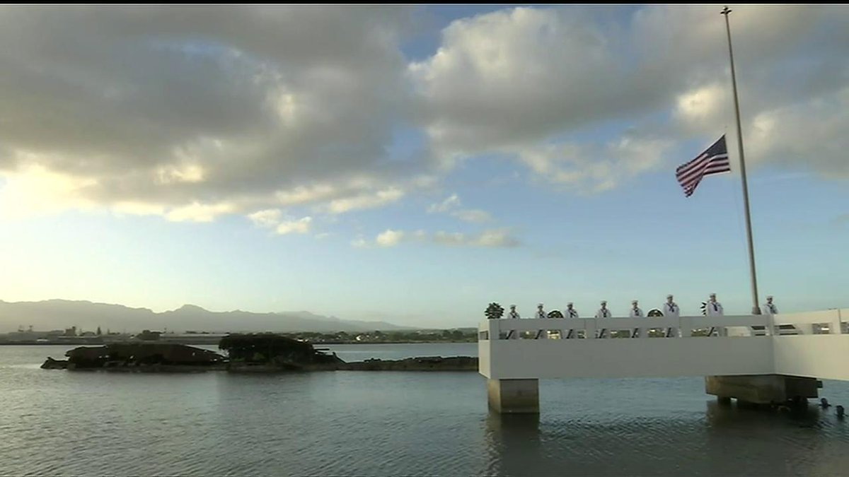 The loss of the battleship USS Utah and 58 of its crew members during the Pearl Harbor attack is commemorated at the USS Utah Memorial Sunset Ceremony at Ford Island, Hawaii. #PearlHarbor76