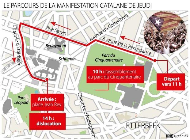 Manifestation catalane ce jeudi à #Bruxelles: voici le parcours  https://t.co/2kDlgaZ8D7  #Catalogne #Puigdemont