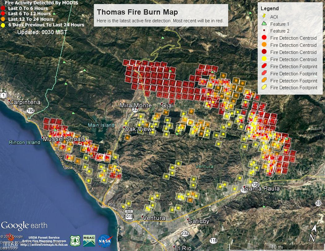 Here is the latest unofficial burn area of the #ThomasFire as of 11 PM PST as indicated by satellite. The red colors represent the latest fire activity. The fire activity has surrounded  #Ojai  affecting Hwys 33 and 150.  #SoCal #LAfire #cawx #LAweather