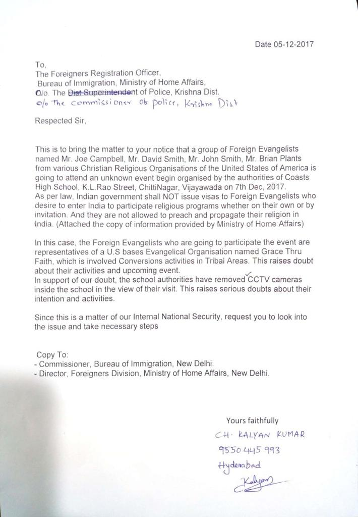 Image result for The Complaint filed by ShivaShakti activist Mr. Kalyan Kumar against illegal activities of U.S evangelists in Vijayawada, A.P. Request you to take strict action and prevent the misuse of Indian Visa. photo