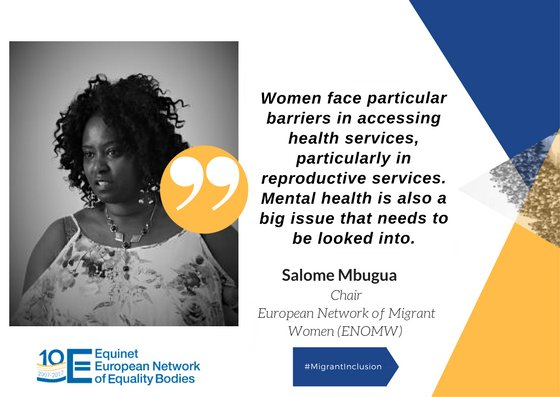 Migrant women face particular barriers in accessing health services, particularly in reproductive services. Mental health is also a big issue that needs to be looked into - @salomembugua #intersectionality #MigrantInclusion<br>http://pic.twitter.com/Dm8OzwenwP