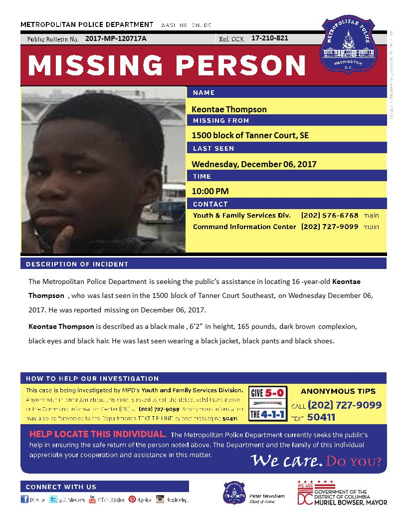 keontae thompson, 16  last seen 12/6 in 1500 b/o tanner ct