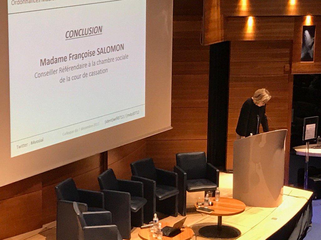 #Avosial Ordonnances Macron: position Chambre Sociale de la Cour de Cassation par F.Salomon,Conseiller Référendaire pic.twitter.com/xLaVUJLRb0