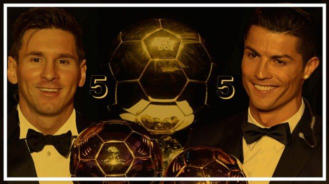 Cristiano iguala a Messi: mismos Balones de Oro, mismas Botas de Oro, Champions... trib.al/X5zucst #BallonDOr