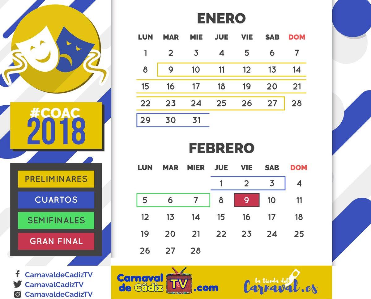 Calendario Coac 2019.Carnaval De Cadiz Tv On Twitter Calendario Del Coac 2018 Todo El