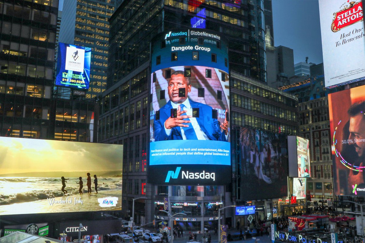 Photo of Dangote displayed on the Nasdaq Tower in Times Square, New York,