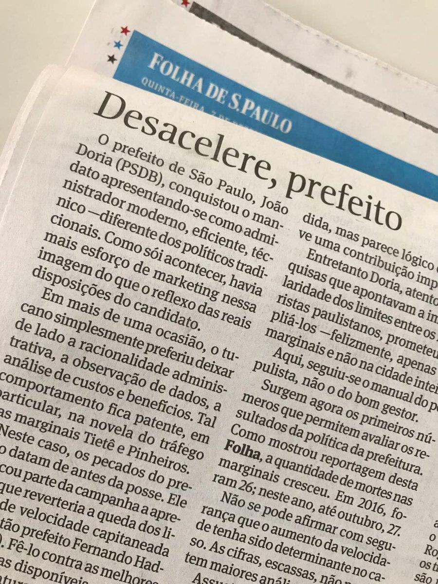 Mesmo sem evidências, a @folha insiste em associar acidentes fatais nas marginais à readequação da velocidade. Uma análise imparcial mostraria que foram determinantes os casos de imprudência, como o de uma motorista alcoolizada, mexendo no celular, que matou 3 pessoas.