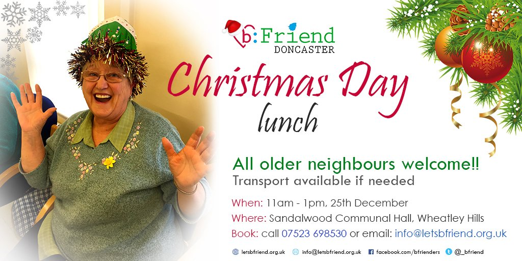Spending Christmas alone? Think again!! All #Doncaster older neighbours welcome - we can pick up too ... Get in touch to book your place!  #loneliness #gettogether #notalone @WBDoncaster @MyDoncaster @rdash_nhs @SYFR @drfc_official @AgeUKDon<br>http://pic.twitter.com/Fui0mkzu9t