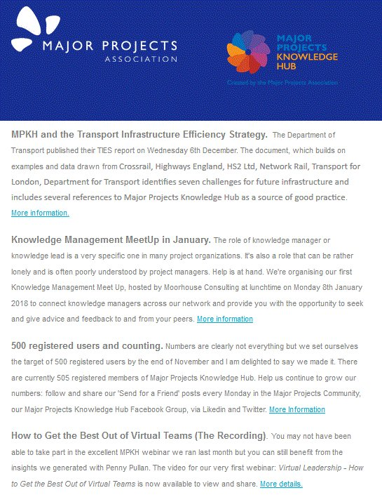 NAO Programme Review Framework; Transport Infrastructure Efficiency Strategy; Virtual Team Leadership; January Knowledge Management MeetUp ... and 500 registered members. The bumper December Major Projects Knowledge Hub newsletter is out.