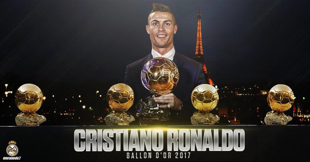 إنه الأفضل في العالم صاحب الكرة الذهبية الخامسة #BallondOr! 2017 💪🏆 👑@Cristiano 👑 #Hala_doooooon