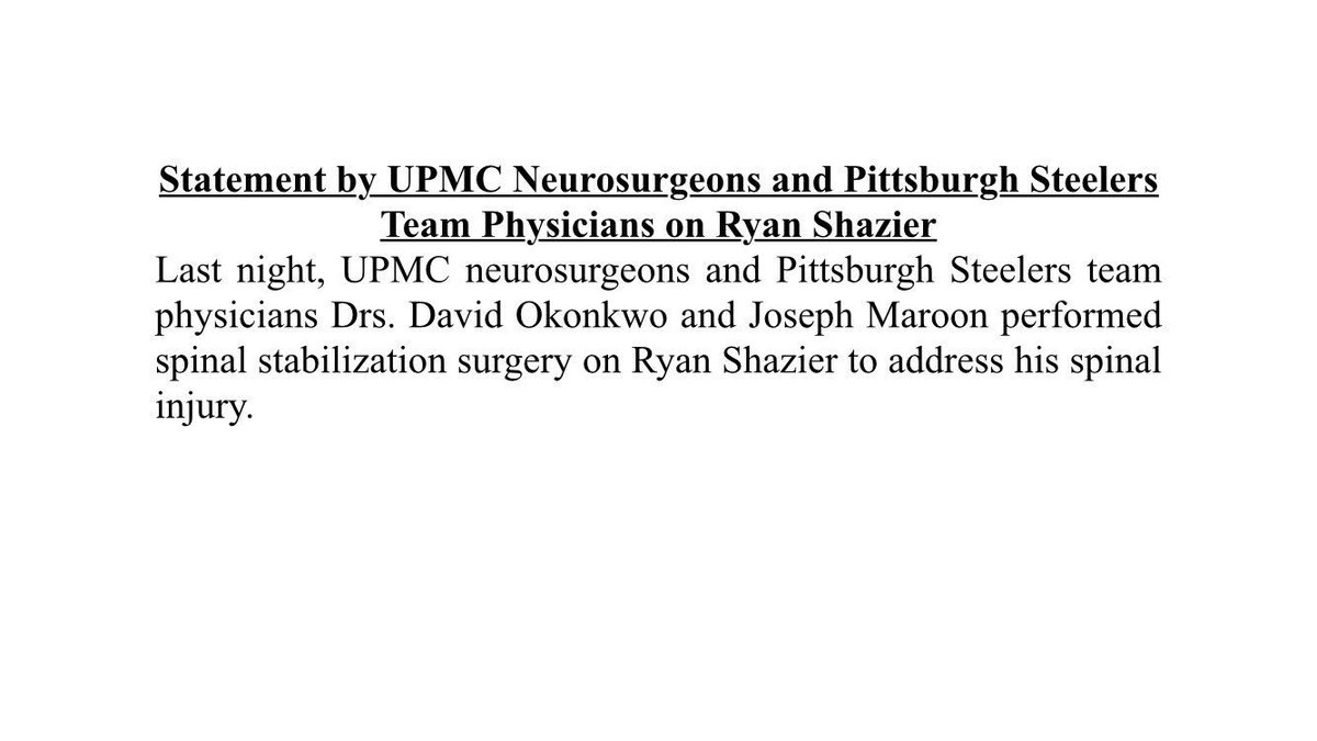 #Steelers LB Ryan Shazier had surgery to stabilize his spine, the team says. Official word: