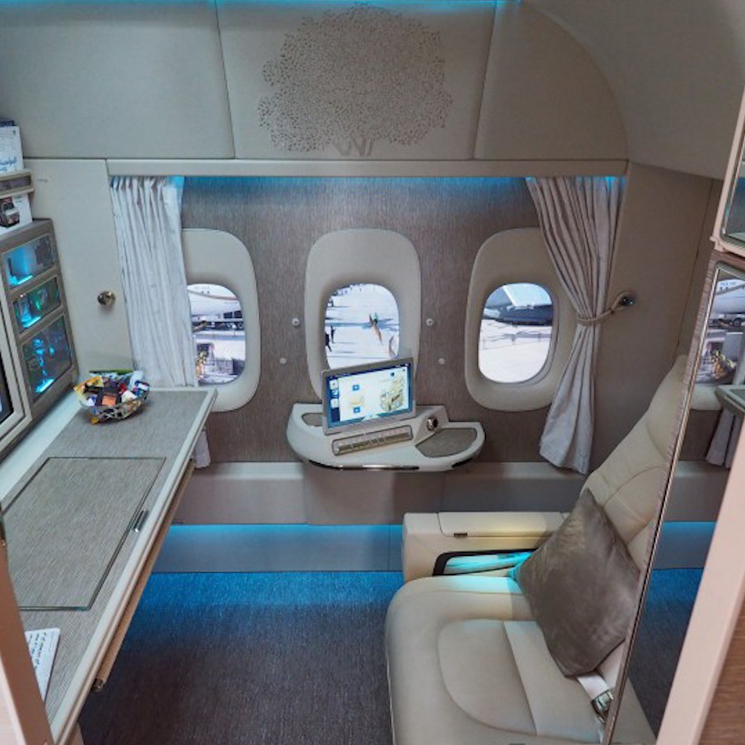 Inside Emirates' new first class suites with virtual windows and NASA-inspired seats