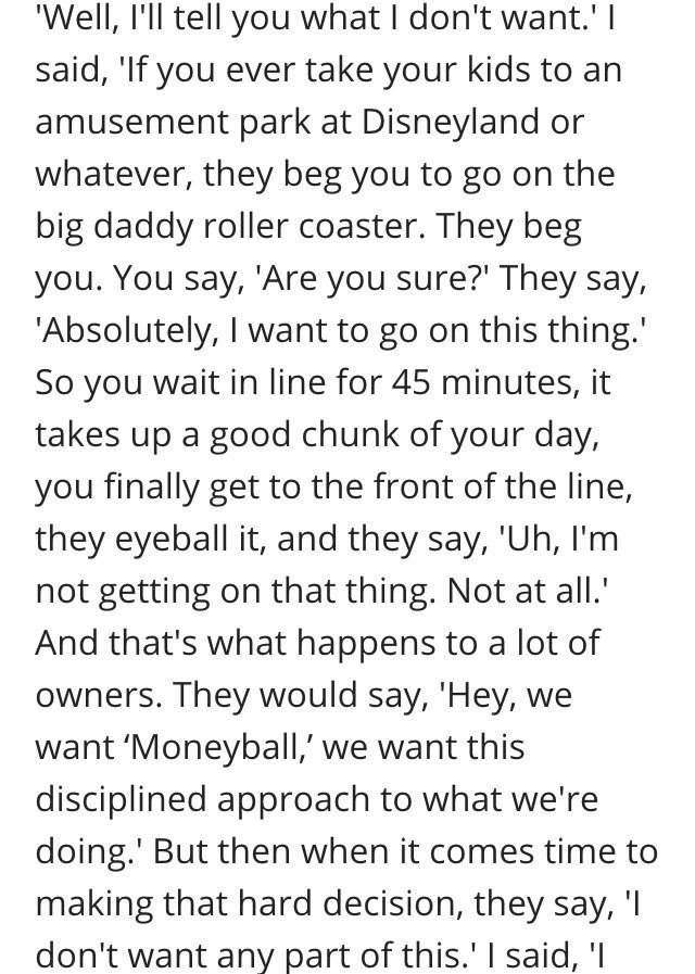 Paul DePodesta's comments from last year on how owners get scared during the analytics process: