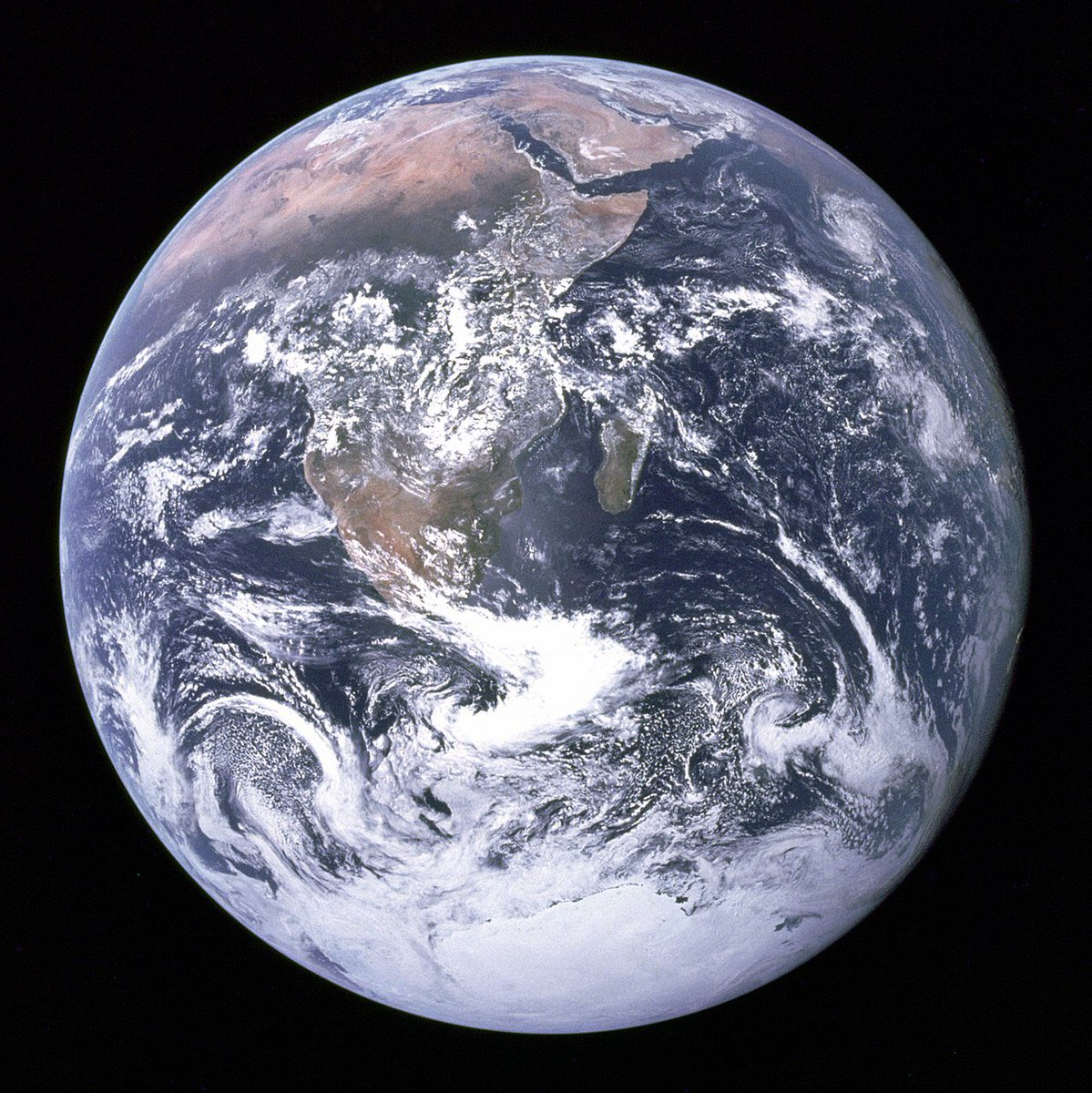 45 years ago today the crew of #Apollo17 took this photograph en route to the moon. #bluemarble