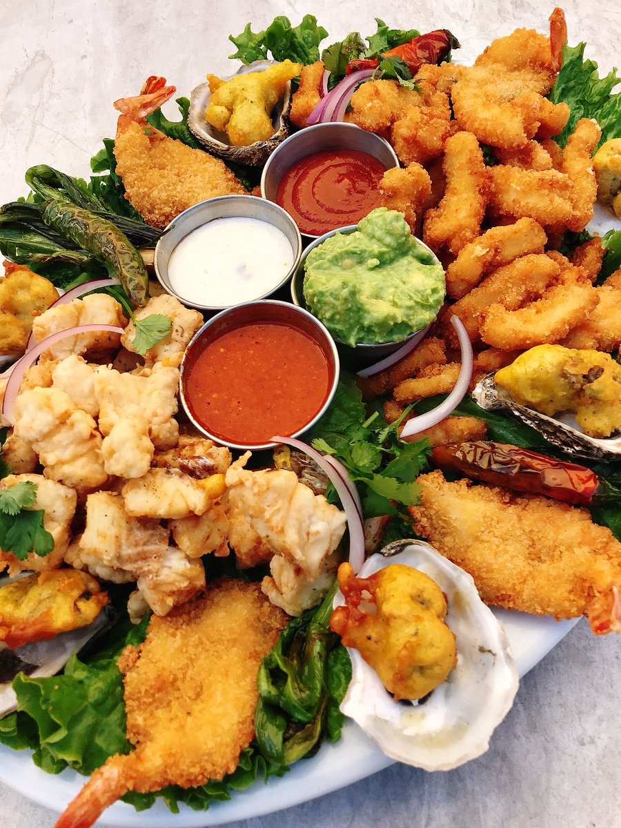 Karina S Seafood On Twitter Get The Weekend Started With Our New Shared Platters Our Fried Seafood Platter Shown Here Includes Breaded Shrimp Fish Nuggets And Calamari Strips 6 Beer Battered Oysters Tartar
