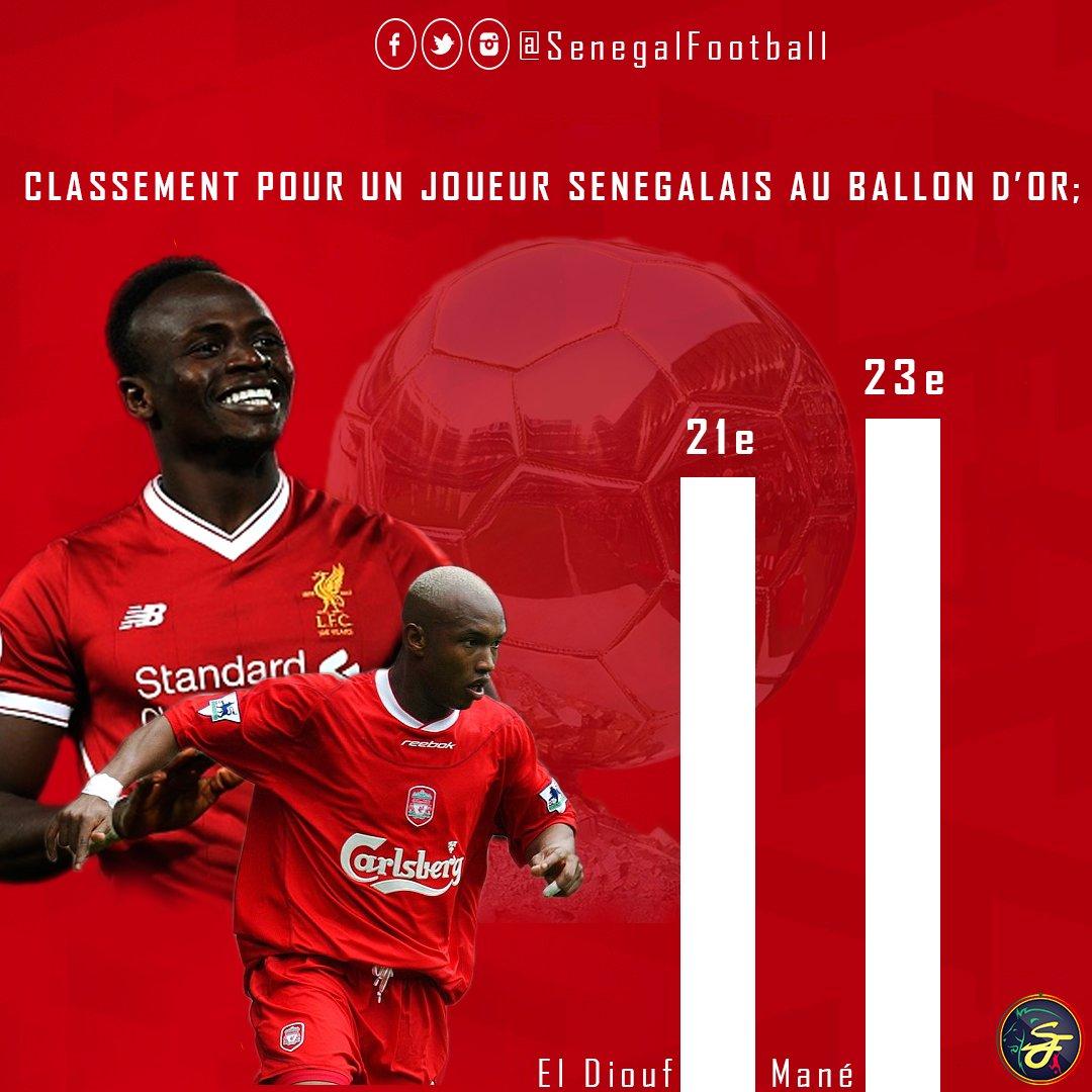 #BallondOr2017:  Sadio Mane (23e) obtient le meilleur classement pour un joueur sénégalais depuis El Hadji Diouf en 2002 (21e).  Successeur!   #BallondOrpic.twitter.com/wJvKK9BUNv