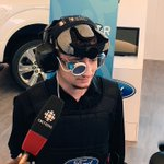 A student from @MacEwanU demonstrates the effects of impairment using the new @FordCanada Hangover Simulation Suit