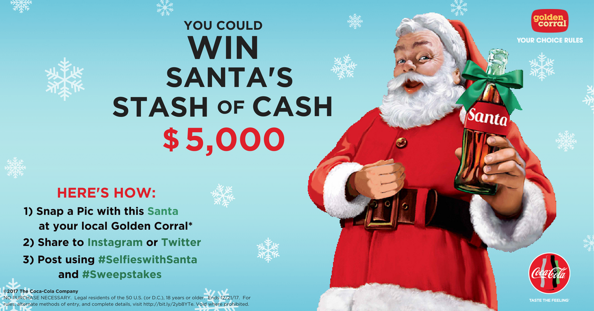 you could win a stash of santas cash when you snap a pic with santa at golden corral and share on instagram or twitter sweepstakes httpbitly2yb8yte - Golden Corral Christmas