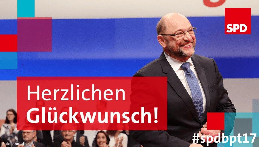81,9 Prozent für unseren Parteivorsitzenden @MartinSchulz - wir gratulieren! #SPDBPT17