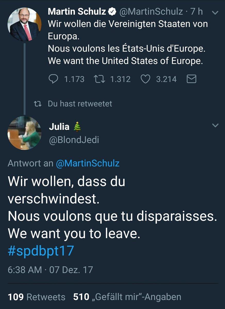 RT @aMarienbad: Der politische Austausch des Tages. #spdbpt17 #Eurokraten @MartinSchulz https://t.co/jkmBU2xczP
