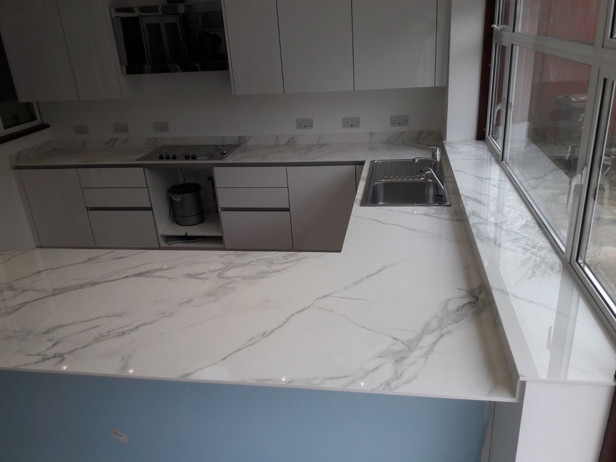 Neolith worktops are highly scratch and impact resistant. This is the  Calacatta colour which has