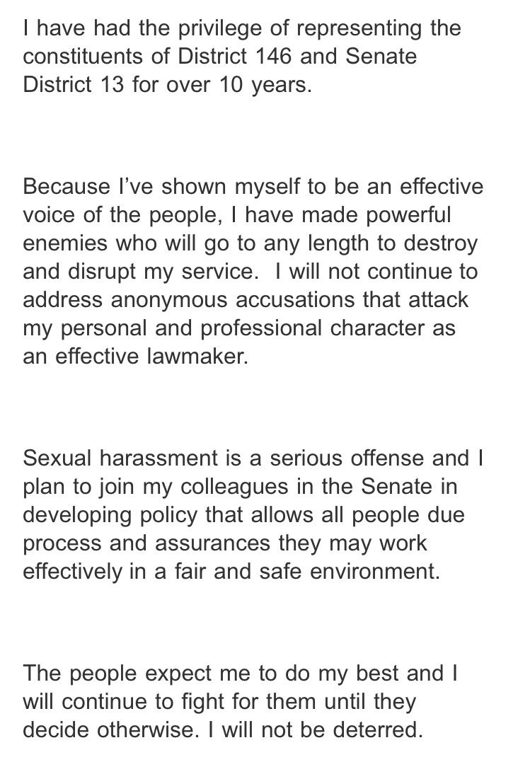 Just in: Borris Miles issues statement responding to sexual misconduct allegations. #txlege